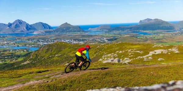 Jonathan Maunsell mountain biking in Lofoten