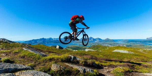 Jonathan Maunsell mountain biking in Lofoten